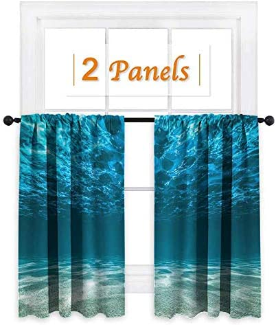 maisi Ocean, Window Curtain Fabric, Gravelly Bottom Wavy Surface Tropical Seascape Abyss Underwater Sunny Day Image, for Bedroom W55 x L45 Inch Blue Aqua Ivory