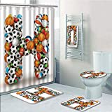 Bathroom Fashion 5 Piece Set shower curtain 3d print,Letter H,Letter H Stacked from Gaming Balls Alphabet of Sports Theme Competition Activity Decorative,Multicolor,Bath Mat,Bathroom Carpet Rug,Non-Sl