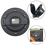 Matte Black Gas Tank Cap Fuel Tank Cover Filler Door Cover for Jeep Wrangler JK & Unlimited 2007-2018 with America Flag Logo (Gas Cap Cover)