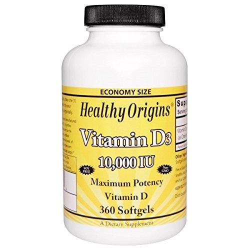 Healthy Origins - ビタミン D3 10000 IU - 1ソフトジェル B00A1MZS40   120 Softgels