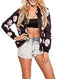 Playworld Womens Floral Printed Jacket Zipper Baseball Short Bomber Jacket Coat Black-2XL
