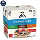 Quaker Lower Sugar Instant Oatmeal, 4 Flavor Variety Pack, Individual Packets (48 Pack)