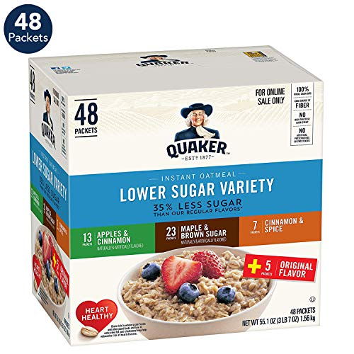 Quaker Lower Sugar Instant Oatmeal, 4 Flavor Variety Pack, Individual Packets (48 Pack) (Best Foods To Eat For Sugar Diabetes)