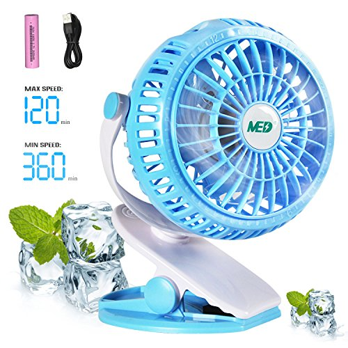 (TOMOTO Mini Battery Operated Clip Fan,Sall Portable Fan Powered by Rechargeable Battery or USB Desk Personal Fan for Baby Stroller Car Gym Workout Camping,Green (blue) )