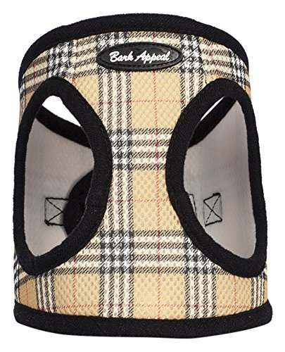Bark Appeal Plaid Comfort Padded Pet Vest Mesh EZ Wrap Puppy Harness, Small, Tan - Vest Bark