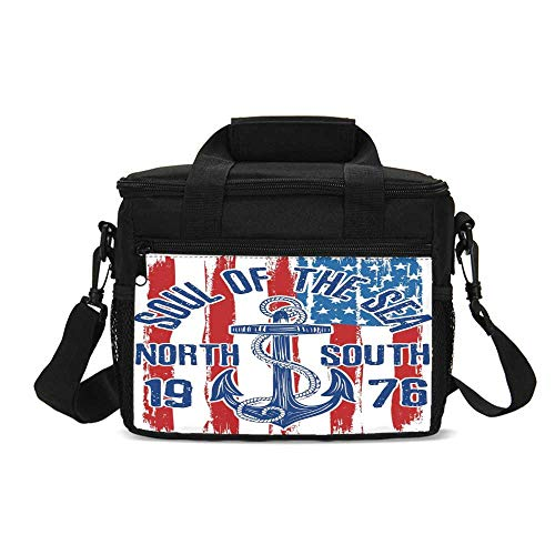 Anchor Durable Lunch Bag,Vintage Design Anchor with Rope on Grungy American Flag Soul of the Sea Art Decorative for Picnic Travel,9.4