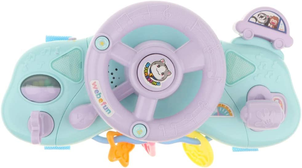 with Light Simulation Driving Sounds Various Musical Songs Homyl Kids Toy Steering Wheel for Driver Role Play Developmental Games