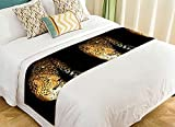 PicaqiuXzzz Custom Wildlife Bed Runner, Nature Series of Animal Leopard Bed Runners And Scarves Bed Decoration 20x95 inch