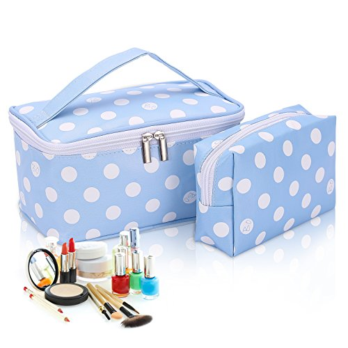 HOYOFO Polka Dot Cosmetic Bag Multifunction Portable Makeup Pouch Travel Organizer Bags Blue, Set of 2