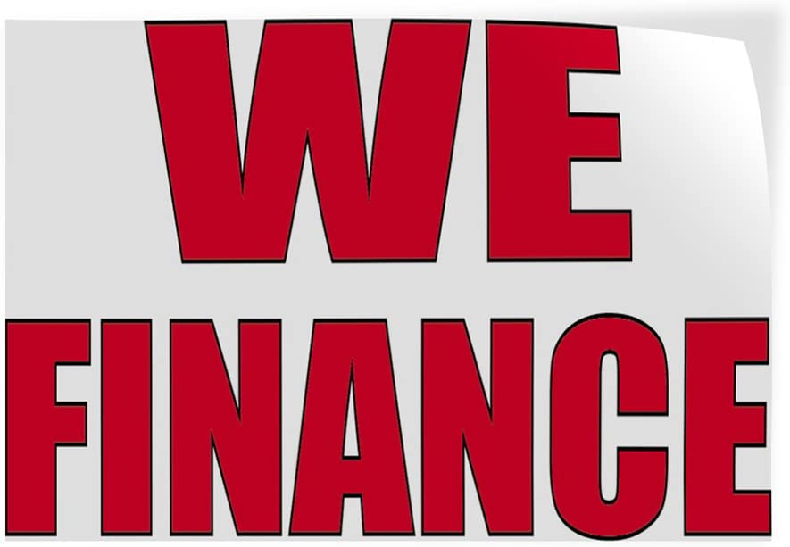 Decal Sticker Multiple Sizes We Finance #2 Business Finance Outdoor Store Sign White Set of 2 52inx34in