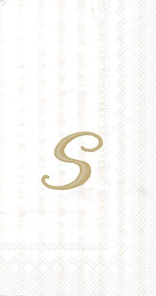 Ideal Home Range 3-Ply Paper Ivory Monogram, 16 Count Guest Towel Napkins Letter S, Set of 2