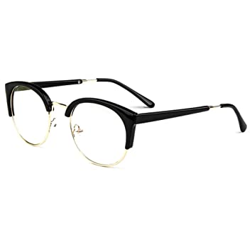 cd1cafe564ba Retro Vintage Semi-Rimless Round Metal Half Frame Clear Lens Safety Glasses  Wayfarer Readers Eye