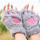 VT BigHome Fluffy Bear/Cat Plush Paw/Claw Kawaii Soft Toweling Lady's Fingerless Femal Gloves Mittens for Girls Half Finger