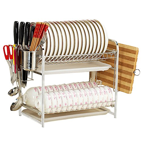 Magicpro Dish Drainer Drying Rack with Cutting Board Holder