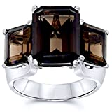 .925 Sterling Silver Octagon Shape Natural Smoky Quartz Three Stone Ring 7