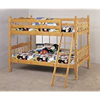 Twin Bunk Bed with Ladder Pine Finish