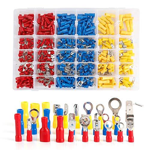 Wire Terminal Crimp Connectors, 480 Pcs 12-Size Assorted Mixed Assorted Lug Kit,Electrical Crimp Connectors Spade Ring Butt Set with Premium Case