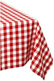 DII 60x84' Rectangular Cotton Tablecloth, Red & White Check - Perfect for Spring, Summer, Christmas, Farmhouse Décor, Picnics & Potlucks or Everyday Use