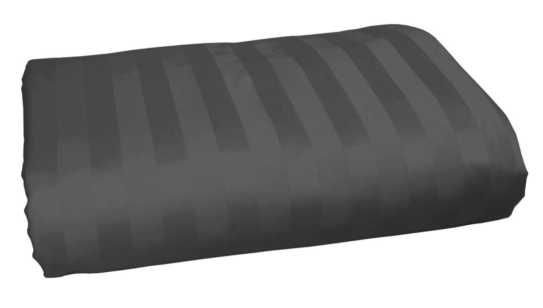 American Pillowcase 100% Long Staple Cotton Luxury Striped 540 Thread Count Flat Sheet - Queen, Gray
