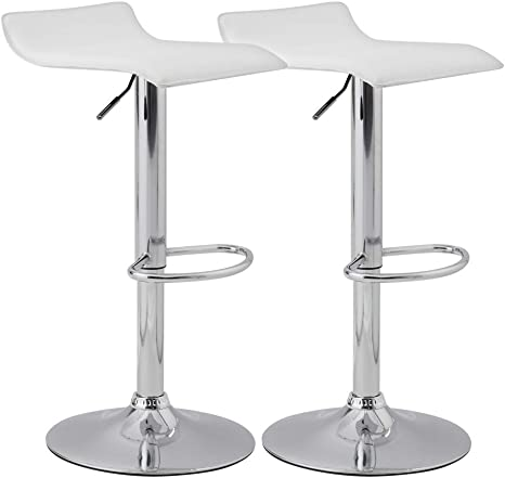 2 × Breakfast Bar Stools Chrome Footrest Swivel PU Chair Counter//Kitchen UK