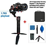 Feiyutech a1000 Upgraded Version 3-Axis Gimbal Stabilizer for NIKON/SONY/CANON Series DSLR Camera/GoPro Action Camera/Smartphone,1.7KG Payload,App control with Extra battery and Tripod