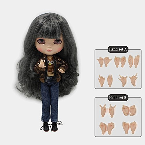 The 12 inch Fortune Days ICY Nude Doll is The Same as Blythe Doll,can Change The faceplate and Clothes for DIY Maker,19 Joint Body Doll is Suitable for Girls Present and Best Gift. (Black)