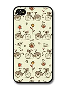 AMAF ? Accessories Bike Pattern Retro Vintage Colour case for iPhone 4 4S