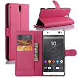 Fettion Sony Xperia C5 Ultra Case, Premium Leather Wallet Case Cover with Stand Card Holder for Sony Xperia C5 Ultra Phone (2015) (Wallet - Rose)