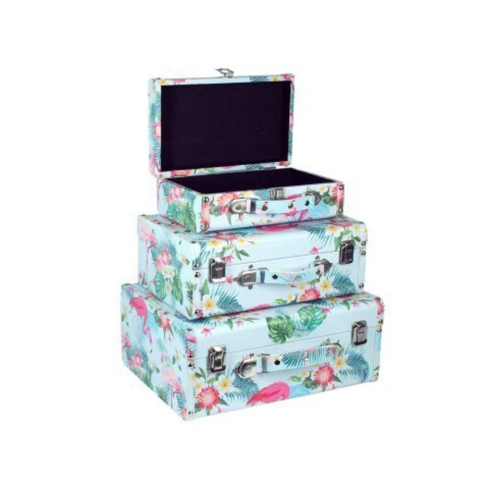 Set de 3 Maletas Decorativas Rectangulares de Madera Flamingos. Cajas Multiusos. Accesorios y Bolsas de Viaje. Regalos Originales. Decoración Hogar.