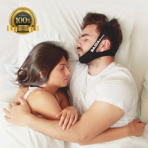 BassaSnooze Anti Snoring Chin Strap - Adjustable Snore Relief Device For a Natural Sleep – Stop Snoring Solution - Includes 1 Washing Bag