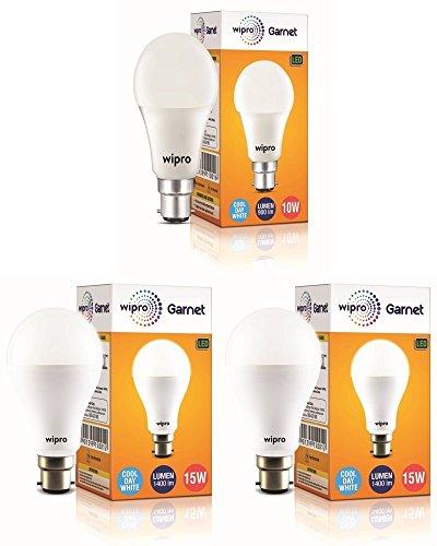 wipro 15-Watts B22 LED Cool Day Light Bulb, Pack of 3