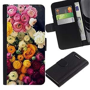 All Phone Most Case / Oferta Especial Cáscara Funda de cuero Monedero Cubierta de proteccion Caso / Wallet Case for Sony Xperia Z1 Compact D5503 // Roses Bouquet Pink Yellow