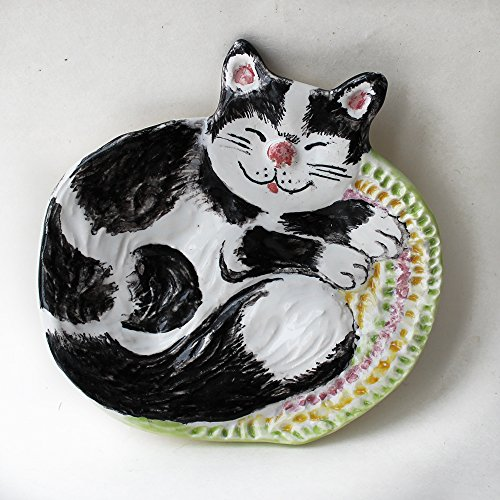 Sleeping Black and white Cat spoon rest, trinket dish, Spotty cat tea bag rest, ceramic soap dish, striped cat ceramic jewelry holder