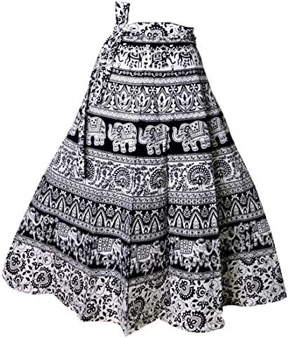 eac0627e62 Kalpit Creations Women's Cotton Printed Wrap Around Skirt in Assorted Design  and prints in Black and white colour Free Size: Amazon.in: Clothing & ...