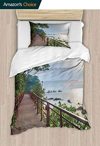 - Beach Bedding Sets Duvet Cover Set, Walkway and Jogging Track by Sea in Cinque Terre Italian Mediterranean Vacation, Bedding Set for Kids,Boys and Teens,63 W x 82 L Inches, Green Chocolate