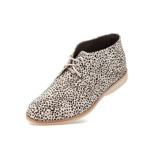 Rollie Women's Chukka Grey Leopard Suede Print, Suede Chukka Boots Gray Flat Boots for Women with Laces, Size 6 US / 37 EU