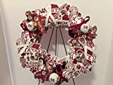 COLLEGE PRIDE - MSU -MISSISSIPPI STATE UNIVERSITY 2 - BULLDOGS - DAWGS - BULLY - DORM DECOR - DORM ROOM - COLLECTOR WREATH - MAROON AND WHITE ROSES