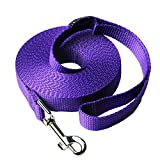 Siumouhoi Dog/Puppy Obedience Recall Training Agility Lead- 15 ft 20 ft 30 ft 40 ft 50 ft Dog Leash Long line -Training Leash, Extended Rope for Training. (15Feet, Purple)