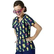 Chloe Zoe Women's V-Neck Pineapple Print Scrub Top
