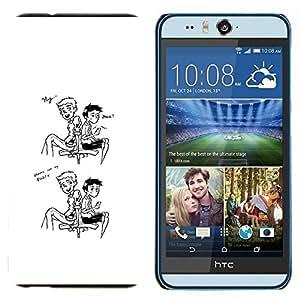 KLONGSHOP // Cubierta de piel con cierre a presión Shell trasero duro de goma Protección Caso - Hola amigo - HTC Desire Eye M910x //