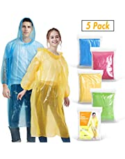 Rain Ponchos for Adults(5 Pack) | Disposable Emergency Drawstring Hood Poncho in Bulk | Extra Thick, Waterproof 0.035mm PE Plastic Material for Theme Parks, Travel, Concerts, Camping