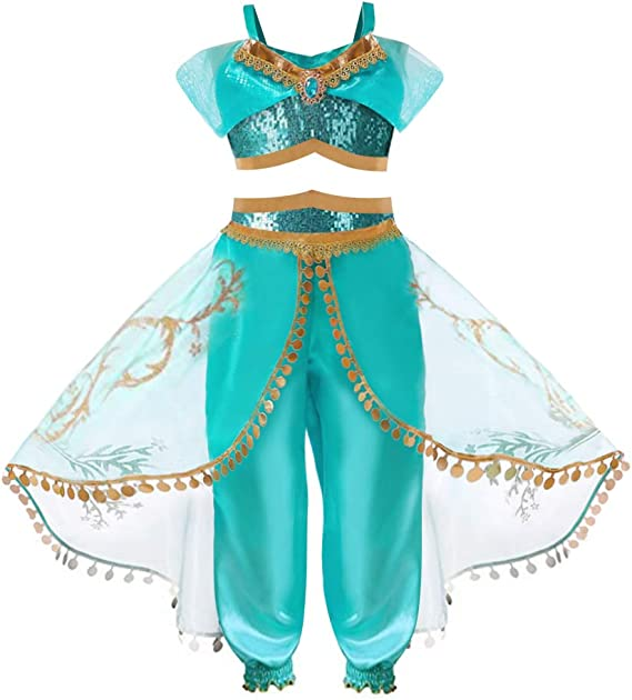 WANGLAI Traje de Disfraz de Princesa jazmín, Aladdin Dress up ...