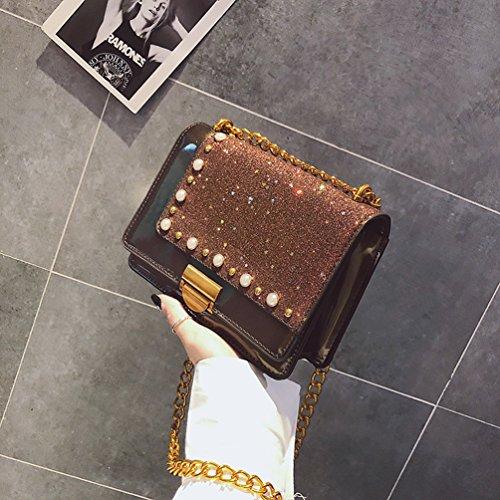 Messenger Femmes PU Lock Bandoulière à Sac YouPuer Chaîne Paillettes Petit Crossbody Sac Café Sacs Xxgnwv6