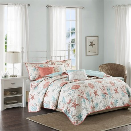 6 Piece Quilted Coverlet Set, Full/Queen, Coral