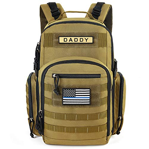 MIRACOL Diaper Bag Backpack for Dad, Tactical Baby Bag for Men Multifunction Travel Backpack, Insulated Bottle Pouch, Military Baby Backpack for Men and Woman Unisex Toddler Gear with Flag Patch