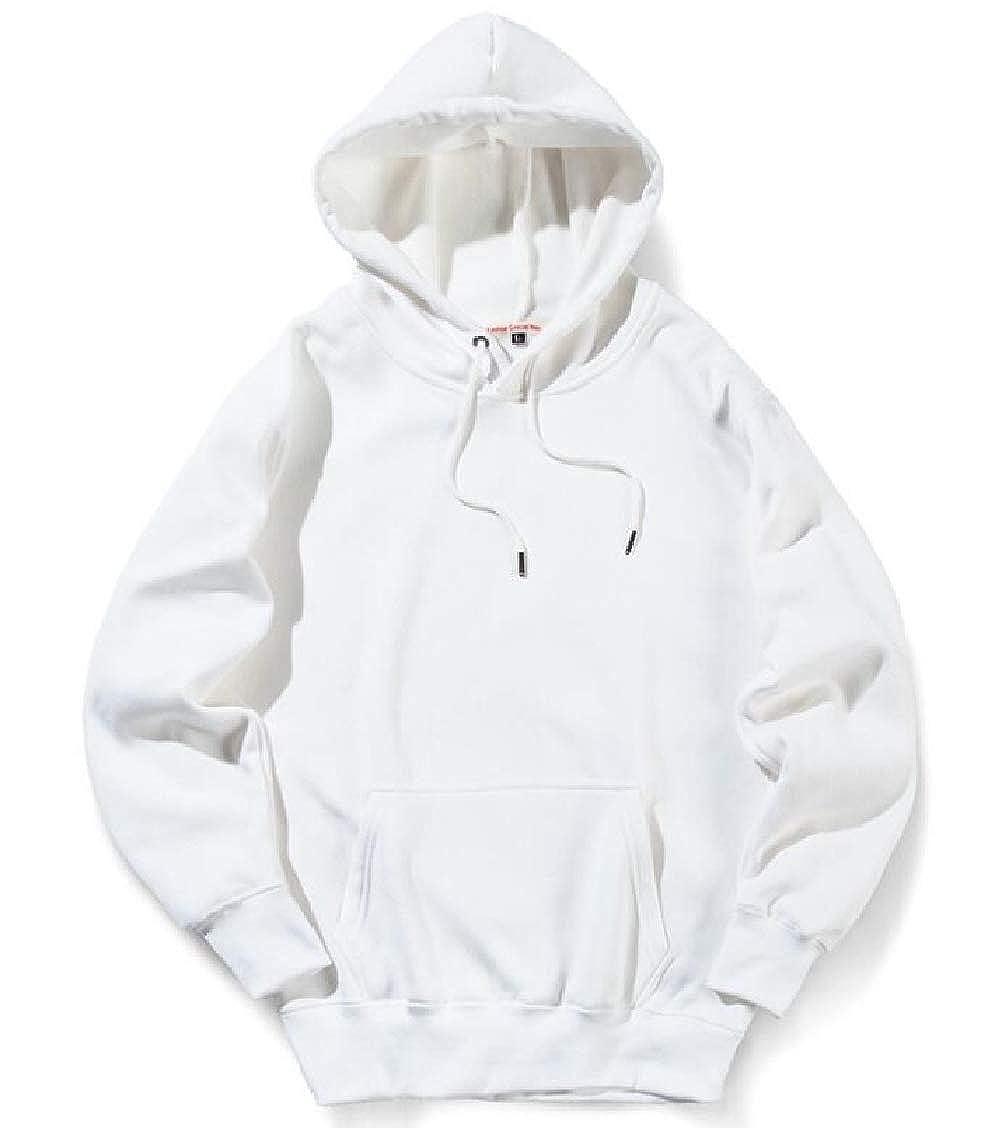 SELX Men Casual Pocket Solid Color Pullover Hoodies Sweatshirt
