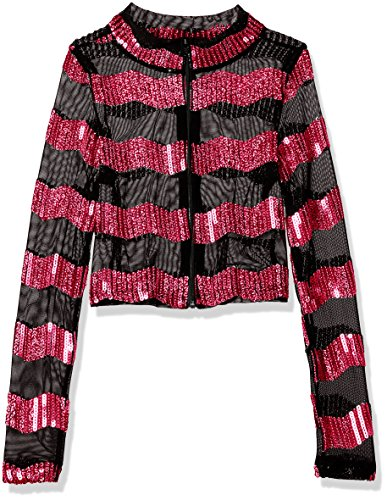Gia-Mia Dance Big Girls' Sequin Stripe Jacket Dance Stretch Mesh Jazz Hip Hop Costume Performance Team, Pink, L - Hip Hop Dance Team Costumes For Girls