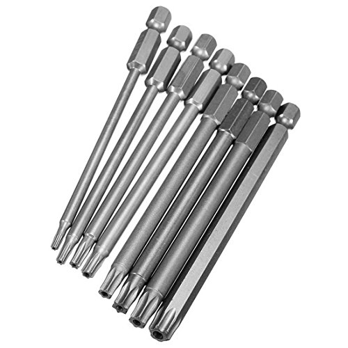8Pcs Electric 100mm Long 1/4 Inch Hex Shank Magnetic S2 Steel Torx Security Head Screwdriver Drill Bits Set T8-T40 - 3 Inch - Oakley Arnette