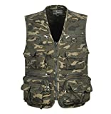 YeSiYan Men's Camo Military Hunting Fishing Vest with Pockets and Zipper