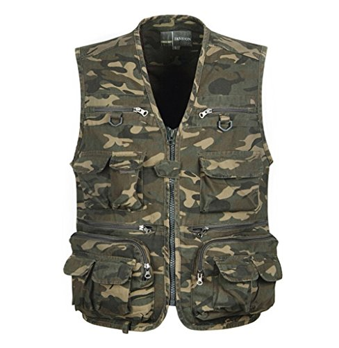 Vest Multi Camo - YeSiYan Men's Camo Military Hunting Fishing Vest with Pockets and Zipper (L)
